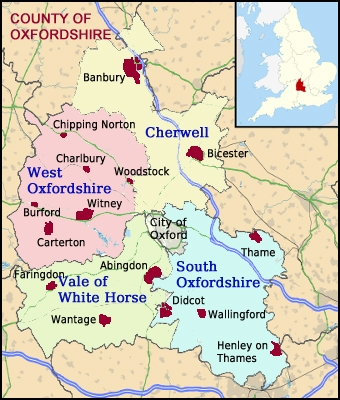 Show Me The Map Of England.Villages In Oxfordshire